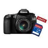 Canon EOS 60D DSLR 18-55mm IS lensa kit - Hitam + 8 GB SDHC