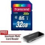 Transcend SDHC C10 UHS-1 300x Premium 45MB/s 32GB - Hitam + Gratis Card Reader Siyoteam