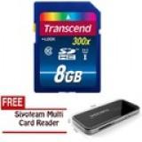 Transcend SDHC C10 UHS-1 300x Premium 45MB/s 8GB - Hitam + Gratis Card Reader Siyoteam