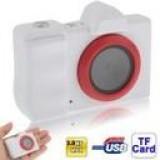 S-DC-1074W - 1.44 inch Liquid Crystal Display Mini Digital Camera / Mini DC with Camera Strap, 3.0 Mega Pixels Support TF Card (White)